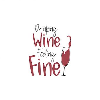Typographie de lettrage citation vin