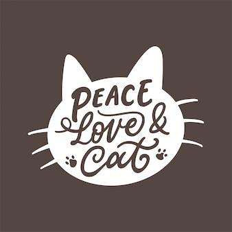 Typographie lettrage dessiné à la main pour amoureux des chats.
