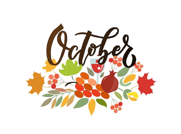 Typographie de lettrage d'octobre calligraphie moderne d'octobre illustration vectorielle sur fond texturé
