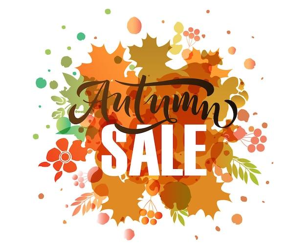 Typographie de lettrage de vente d'automne calligraphie de vente moderne illustration vectorielle fond texturé