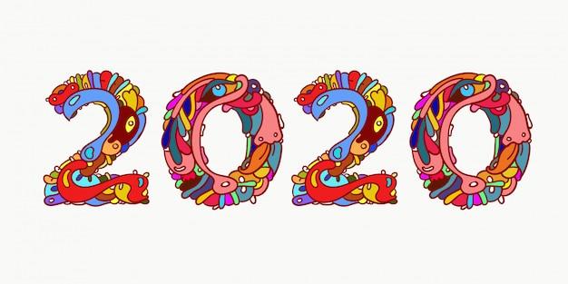 Typographie de lettre colorée doodle nouvel an 2020