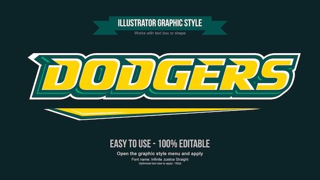 Typographie de logo d'équipe moderne jaune et vert