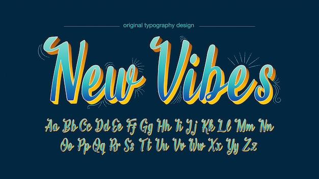 Typographie manuscrite bleue