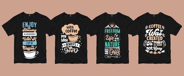 Typographie manuscrite citations dictons sur le paquet de t-shirt café