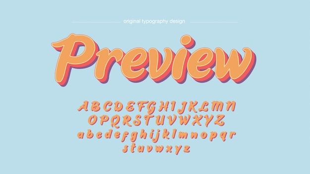 Typographie manuscrite colorée vintage