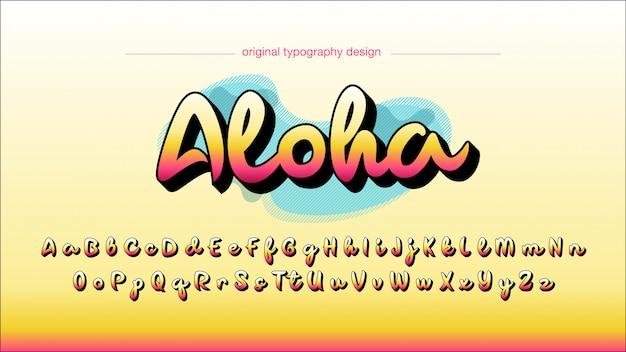Typographie manuscrite colorée