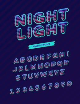 Typographie moderne de polices de lumière de nuit