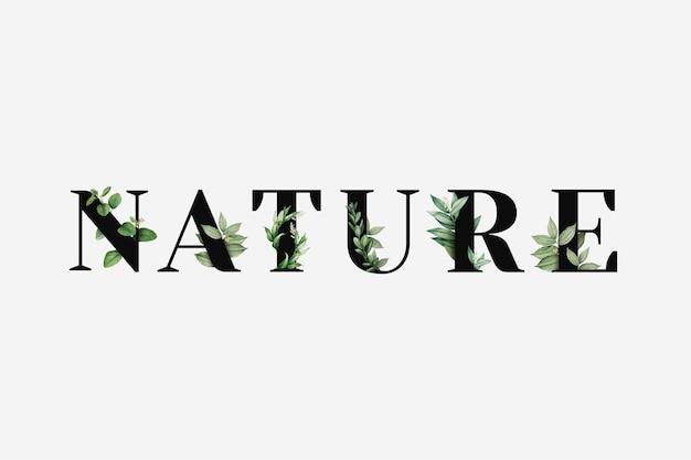 Typographie de mot de vecteur nature botanique