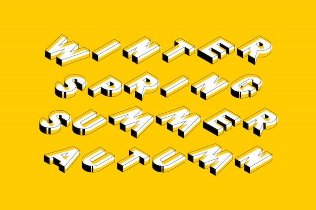 Typographie avec mots hiver, printemps, été et automne en style de forme 3d géométrique sur jaune
