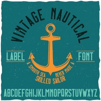 Typographie nautique vintage et échantillon