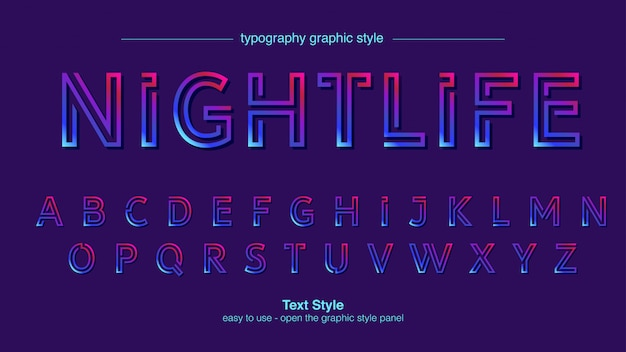 Typographie néon lignes abstraites
