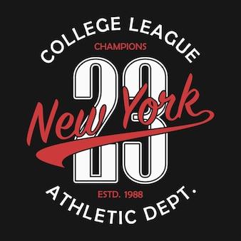 Typographie de new york pour le tshirt de numéro imprimé de sportswear original typographie de vêtements de sport