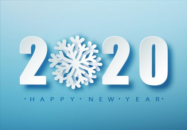 Typographie de noël bleu 2020. fond de saison d'hiver avec des chutes de neige. modèle d'affiche de noël et du nouvel an. salutations de vacances. .