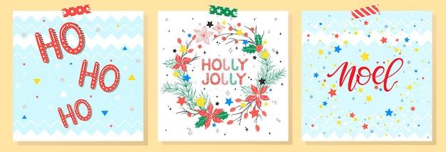Typographie de noël et du nouvel an. ensemble de cartes de vacances avec salutations, couronne, flocons de neige et étoiles. salutations de saisons parfaites pour les impressions, flyers, cartes, invitations et plus encore. illustrations vectorielles.