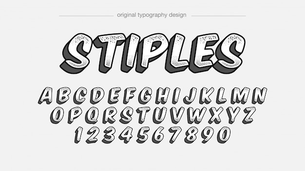 Typographie noir blanc stiples