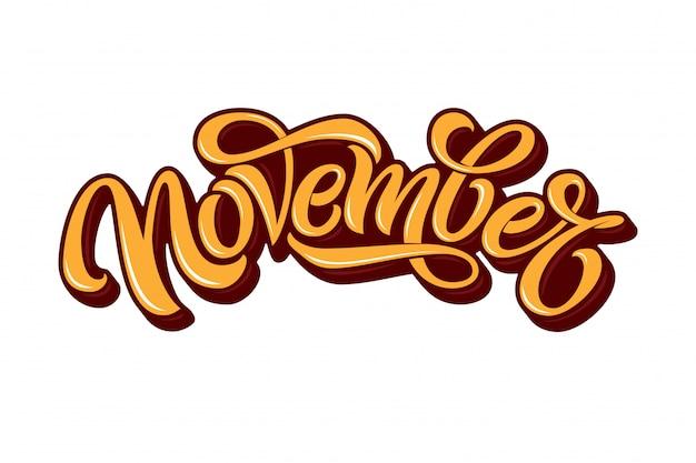 Typographie de novembre sur fond blanc. calligraphie au pinceau pour bannière, affiche, carte de voeux. lettrage manuscrit pour carte de voeux, bannière pour les médias sociaux.