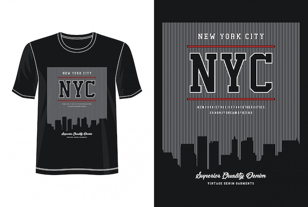 Typographie nyc pour t-shirt imprimé