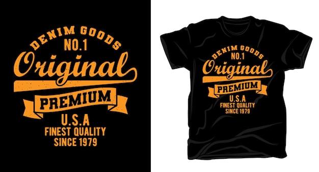 Typographie originale de denim pour la conception de t-shirts