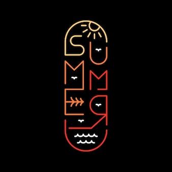 Typographie de planche à roulettes d'été