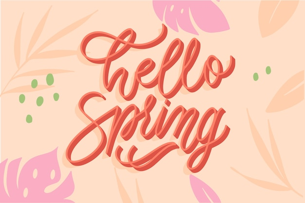 Typographie de printemps avec décoration colorée