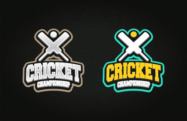Typographie professionnel professionnel emblème de style super héros de sport de cricket sport et logo de modèle avec ballon.