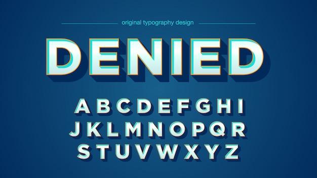 Typographie rétro bleu clair en biseau