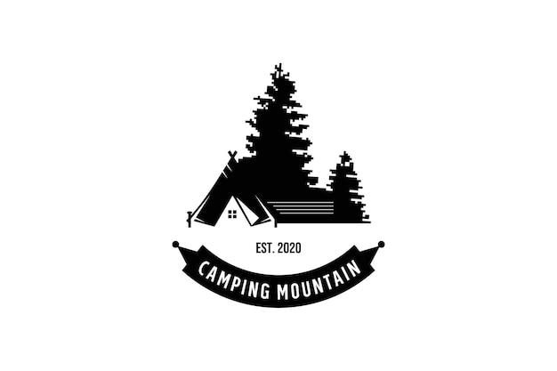 Typographie rétro création de logo mountain adventure.