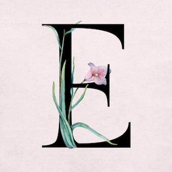 Typographie romantique de police de lettre e florale