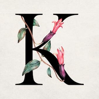 Typographie romantique de police de lettre k floral