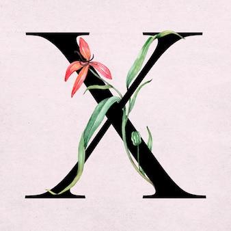 Typographie romantique de police de lettre x floral