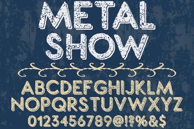 Typographie shadow effect exposition de métal de conception de police typographie