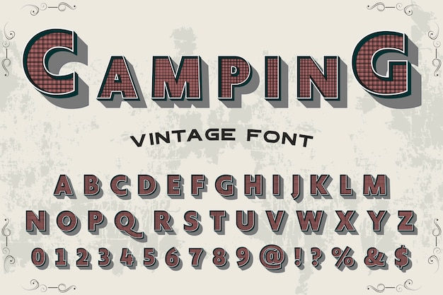 Typographie shadow effect label design camping