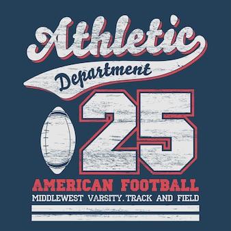 Typographie de sport, graphiques de t-shirt de département d'athlétisme de football universitaire, impression vintage