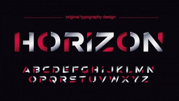Typographie sportive futuriste argentée et rouge