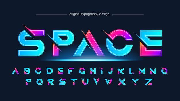 Typographie de sports en tranches futuristes bleu néon et rose