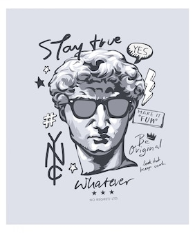 Typographie avec statue antique en illustration de lunettes de soleil