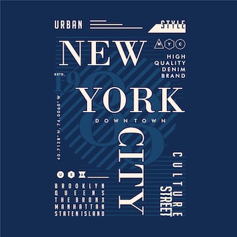 Typographie de t-shirt graphique new york city text frame
