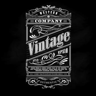 Typographie de tableau noir étiquette western cadre dessiné main