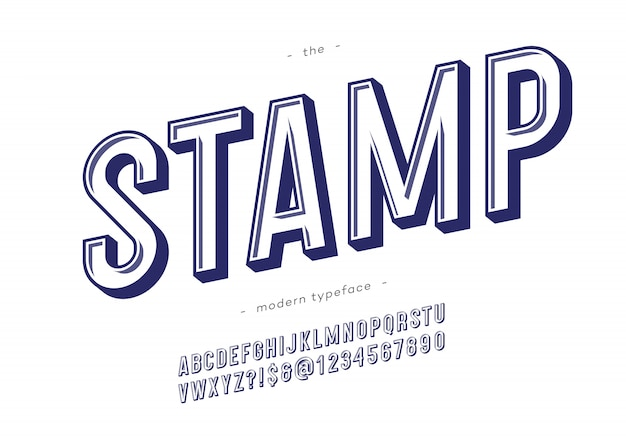 Typographie tendance de polices timbre vecteur