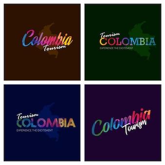 Typographie de tourisme colombie logo ensemble de fond