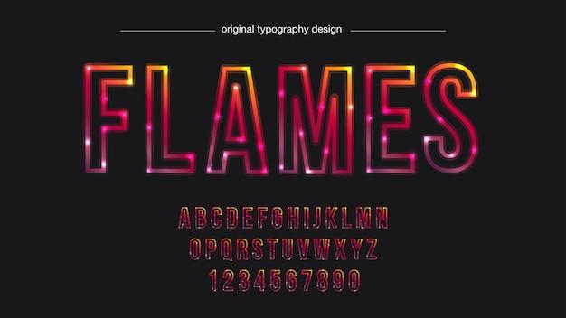 Typographie de trait de lumière au néon rouge