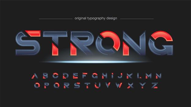 Typographie en tranches de sports modernes métalliques et rouges