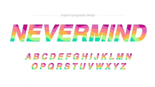 Typographie de vagues colorées