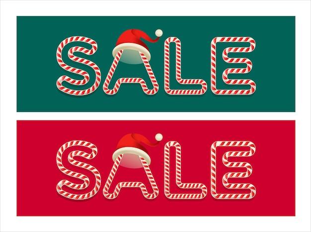 Typographie de vente de noël avec des achats de vacances de noël de canne en bonbon
