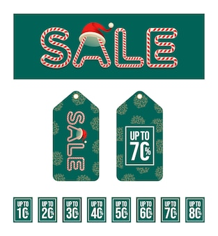Typographie de vente de noël avec des étiquettes de vente et offre des achats de vacances de noël