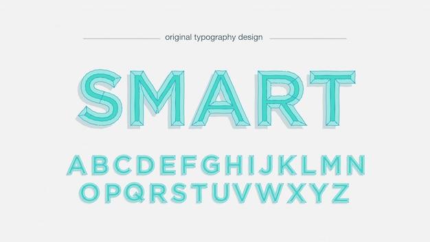 Typographie vert clair de dessin animé mignon