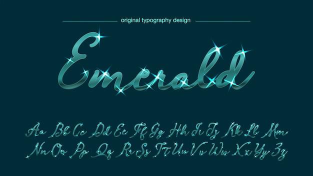 Typographie verte manuscrite lumineuse