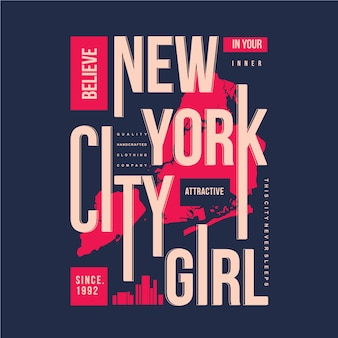 Typographie de la ville de new york avec vecteur graphique de cartes bon pour t-shirt