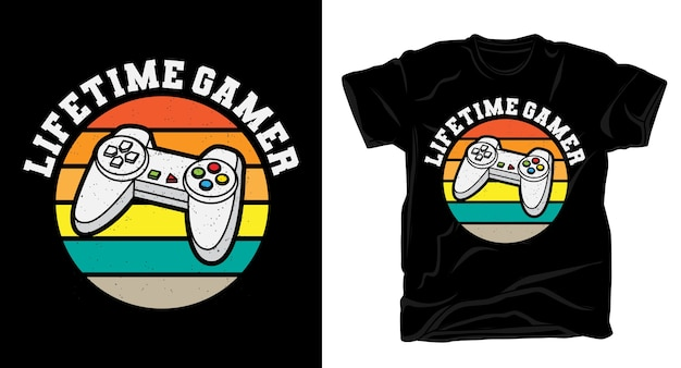 Typographie vintage gamer à vie avec contrôleur pour t-shirt