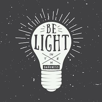 Typographie vintage avec lampe et motivation et inspiration en blanc. illustration vectorielle